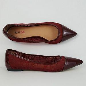 JustFab Kiara Dark Red Lace Point Toe Flats 7.5